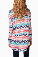 Multi-Colored Geometric Print Maternity Top