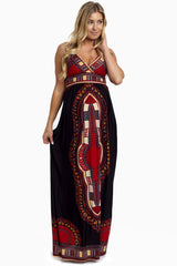 Black Print Maternity/Nursing Maxi Dress