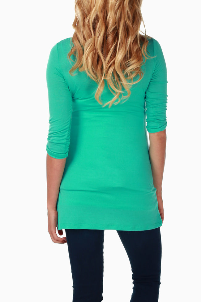 Mint Green 3/4 Sleeve Fitted Maternity Top