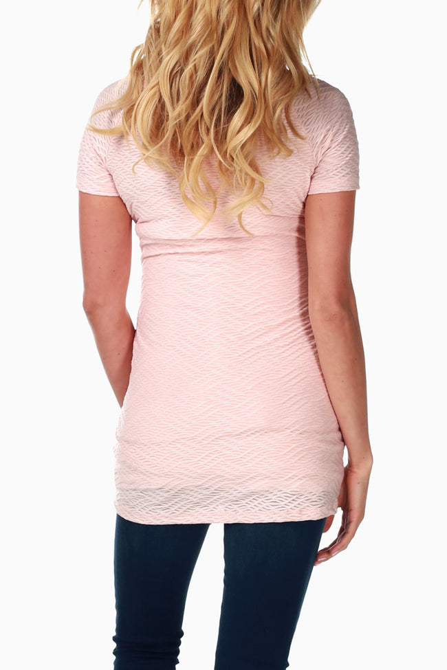 Pink Textured Fitted Maternity Top