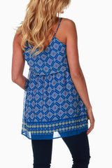 Blue Printed Maternity Tank Top
