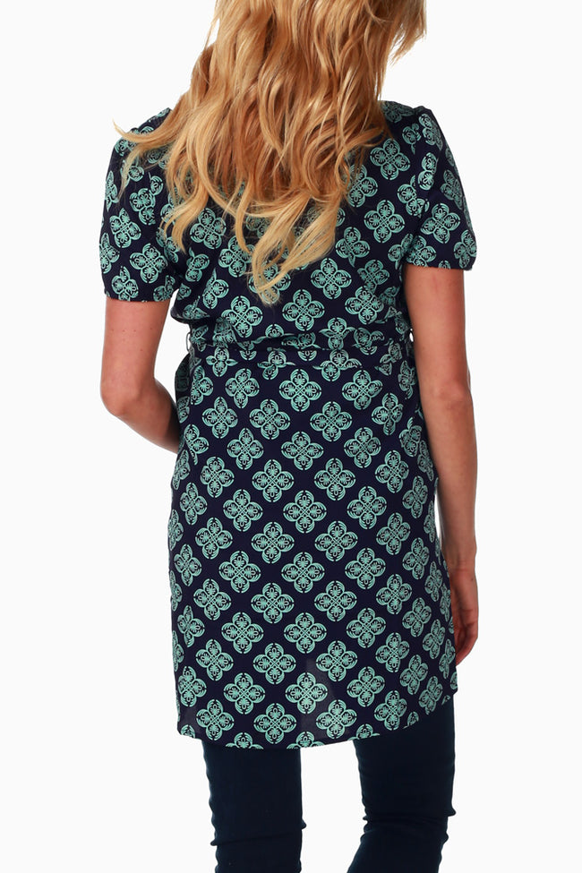 Navy Mint Printed Maternity Top
