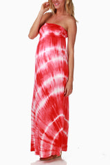 Coral Tie Dye Maternity Maxi Dress