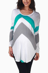 Teal Grey Chevron Long Sleeve Maternity Top