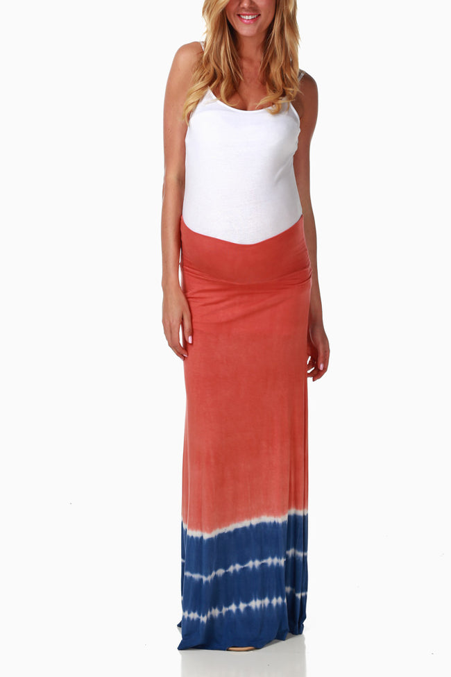 Orange Blue Tie Dye Maternity Maxi Skirt