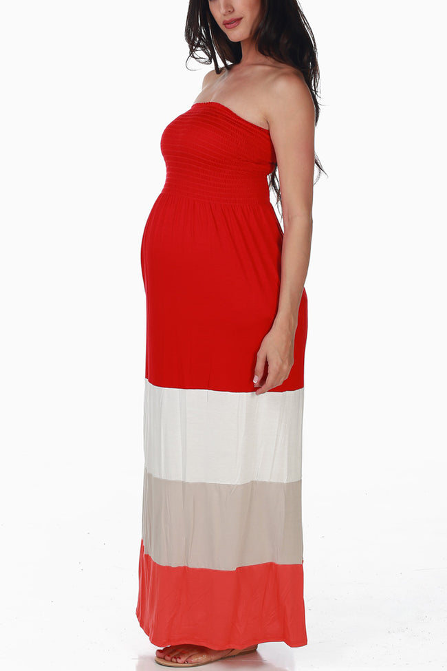 Red Taupe Orange Colorblock Maternity Maxi Dress