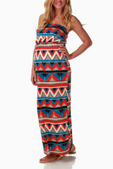 Red Tribal Printed Maternity Maxi Dress