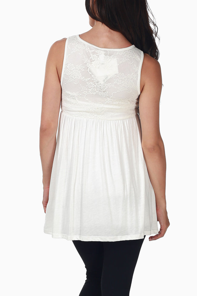 Ivory Lace Top Maternity Tank