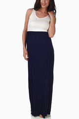 Navy Blue White Colorblock Bow Accent Maternity Maxi Dress