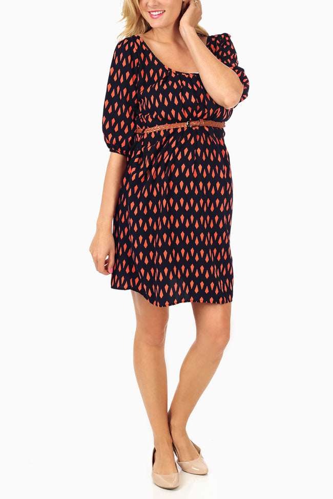 Coral Black Print Belted Maternity Dress