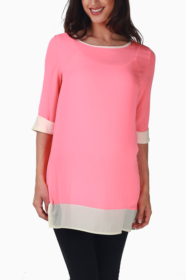 Pink White Colorblock Maternity Tunic