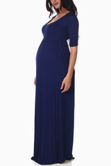Navy Blue Maternity Maxi Dress