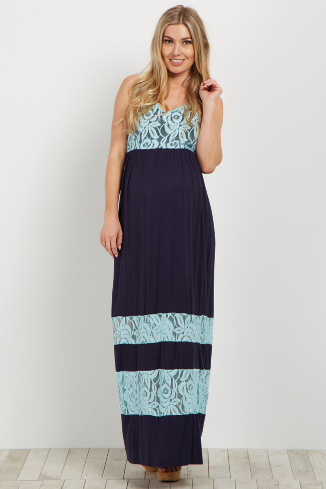 Navy Lace Colorblock Maternity Maxi Dress