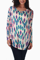 White Tribal Printed Long Sleeve Maternity Top