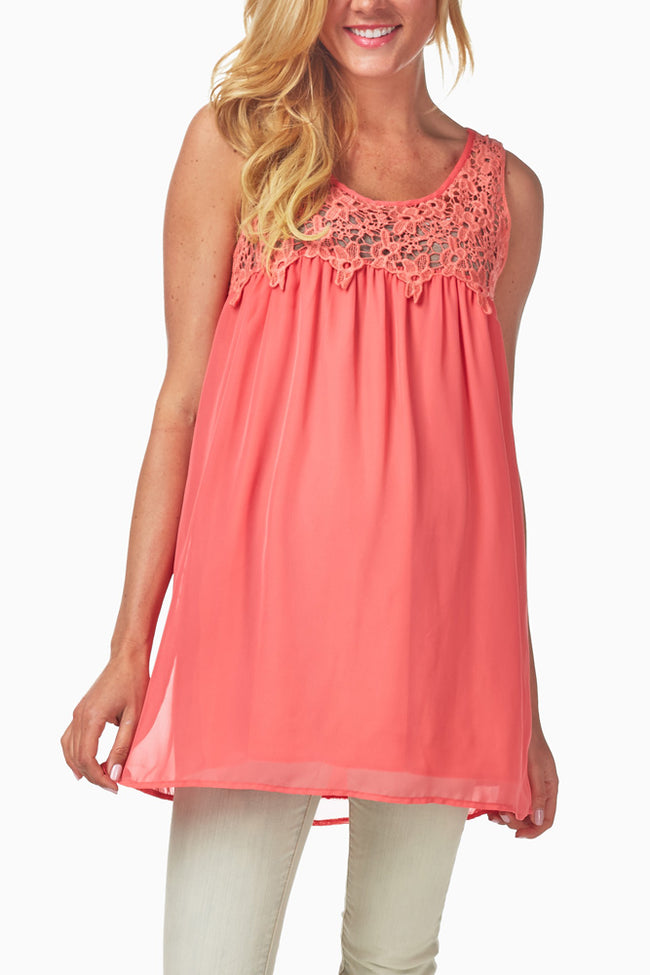 Coral Crochet Top Maternity Tank