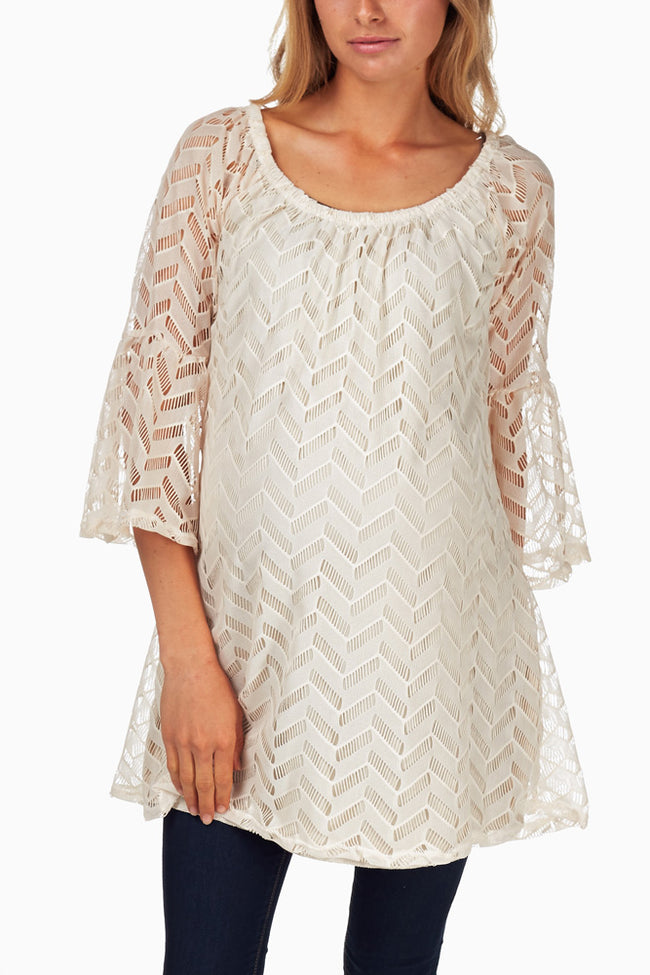 Beige Lace Chevron Maternity Tunic