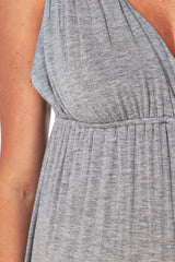 Grey Lace Back Maternity/Nursing Maxi Dress