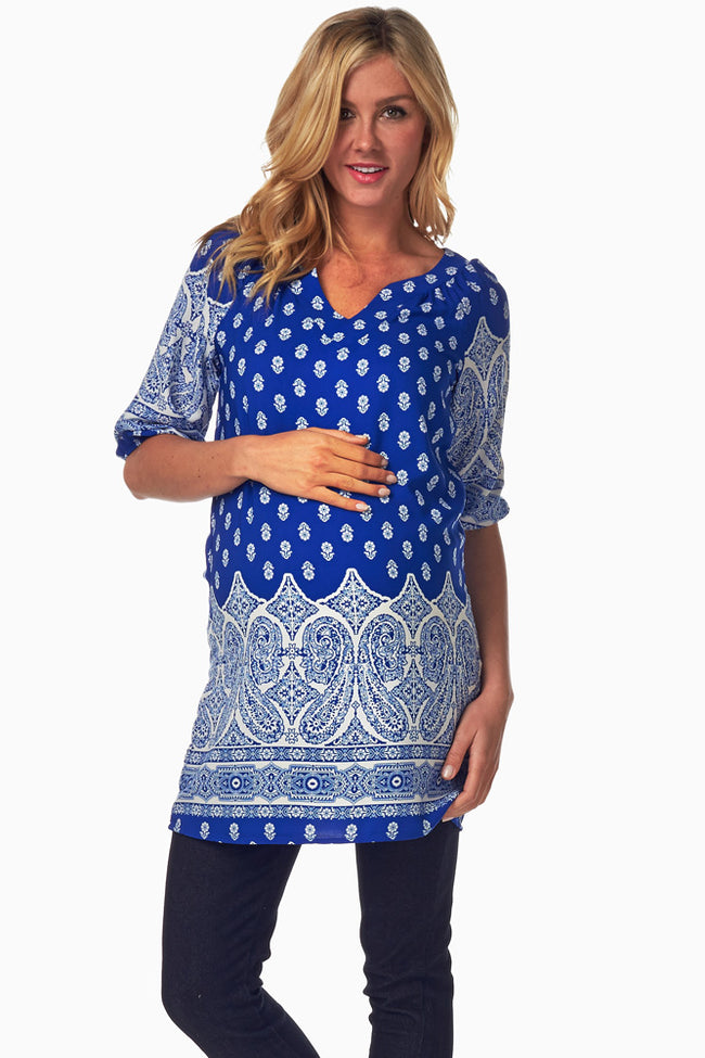 Blue White Printed Maternity Tunic