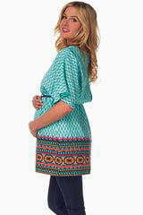 Mint Green Blue Tribal Chevron Maternity/Nursing Blouse