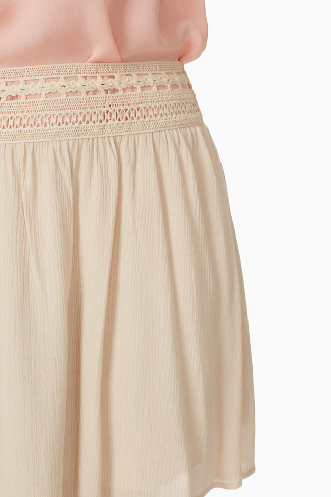 Cream Crochet Trim Skirt