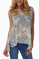 White Bird Print Sheer Tank Top
