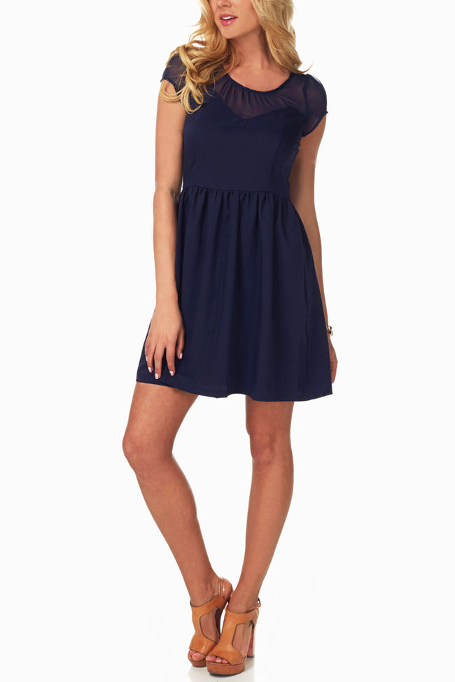 Navy Blue Sheer Top Babydoll Dress
