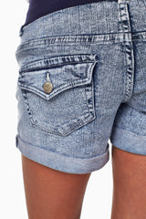 Light Blue Acid Wash Maternity Shorts