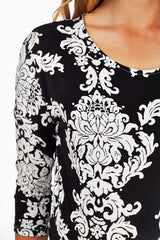 Black White Printed Maternity Top