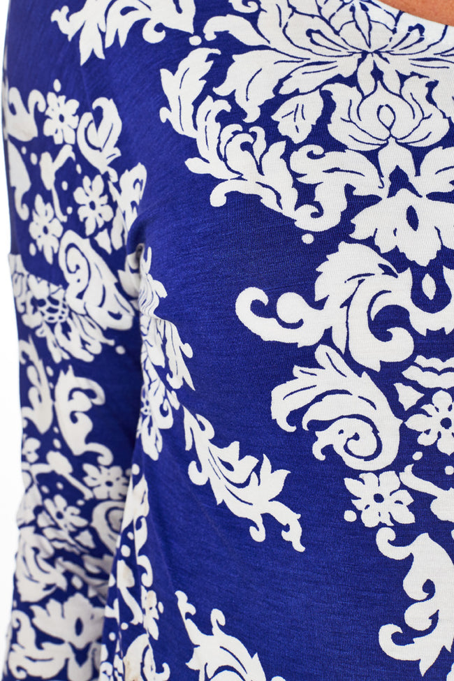 Royal Blue White Printed Maternity Top