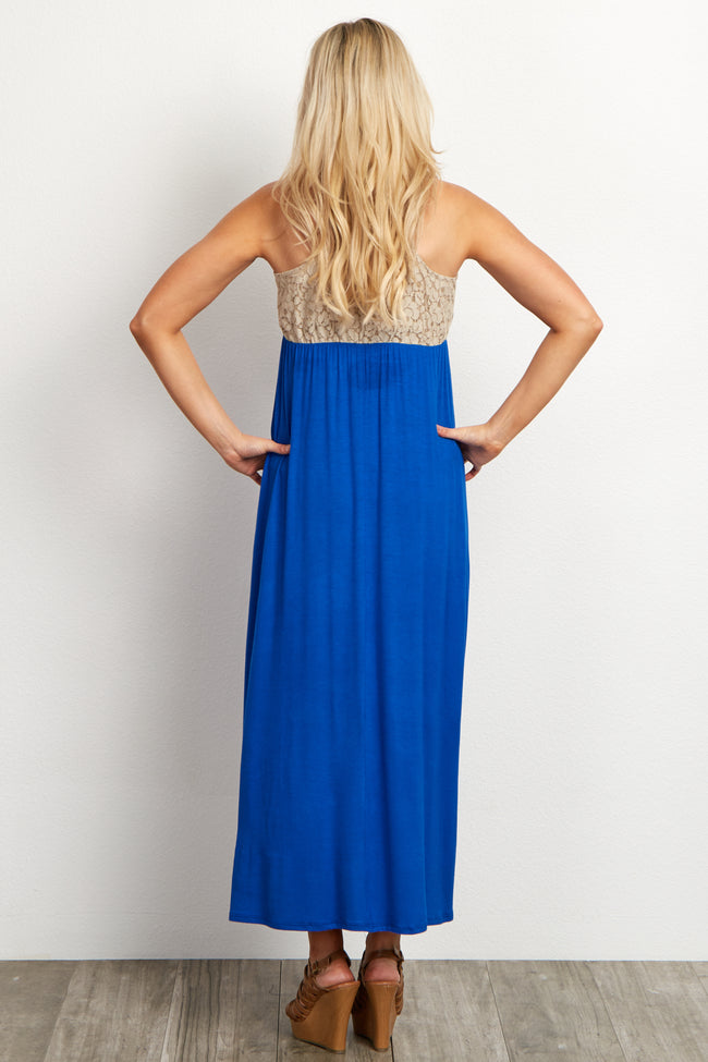 Royal Blue Crochet Top Maternity Maxi Dress