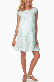 Mint Green Floral Lace Maternity Dress