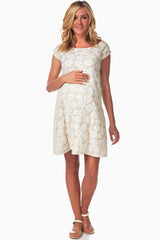 Ivory Floral Lace Maternity Dress
