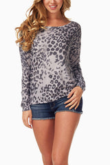 Grey Black Animal Print Top