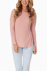 Pink Heathered Long Sleeve Top