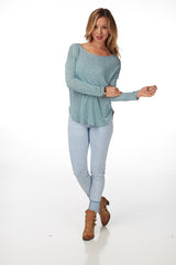 Teal Heathered Long Sleeve Top