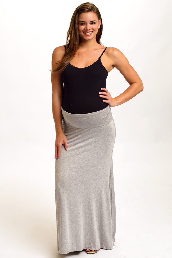 Light Grey Maternity Maxi Skirt