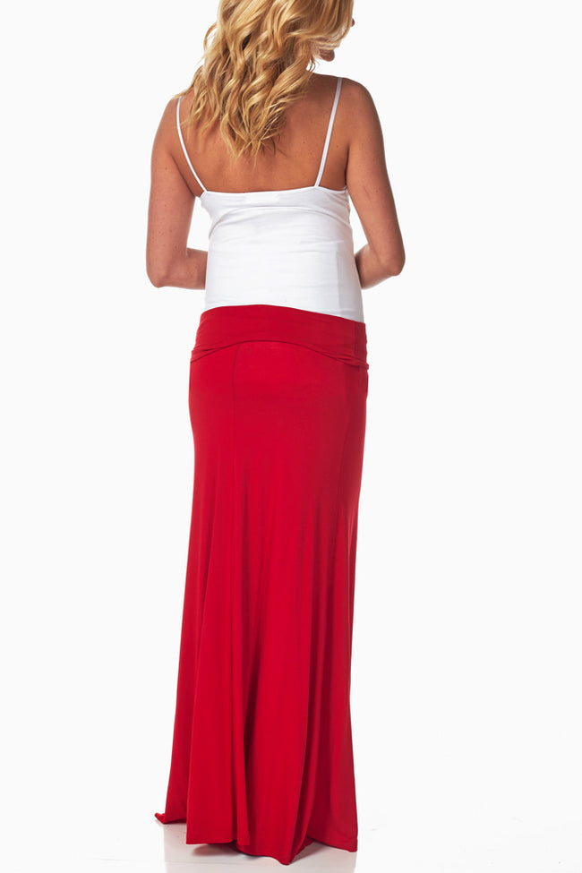 Red Maxi Maternity Skirt