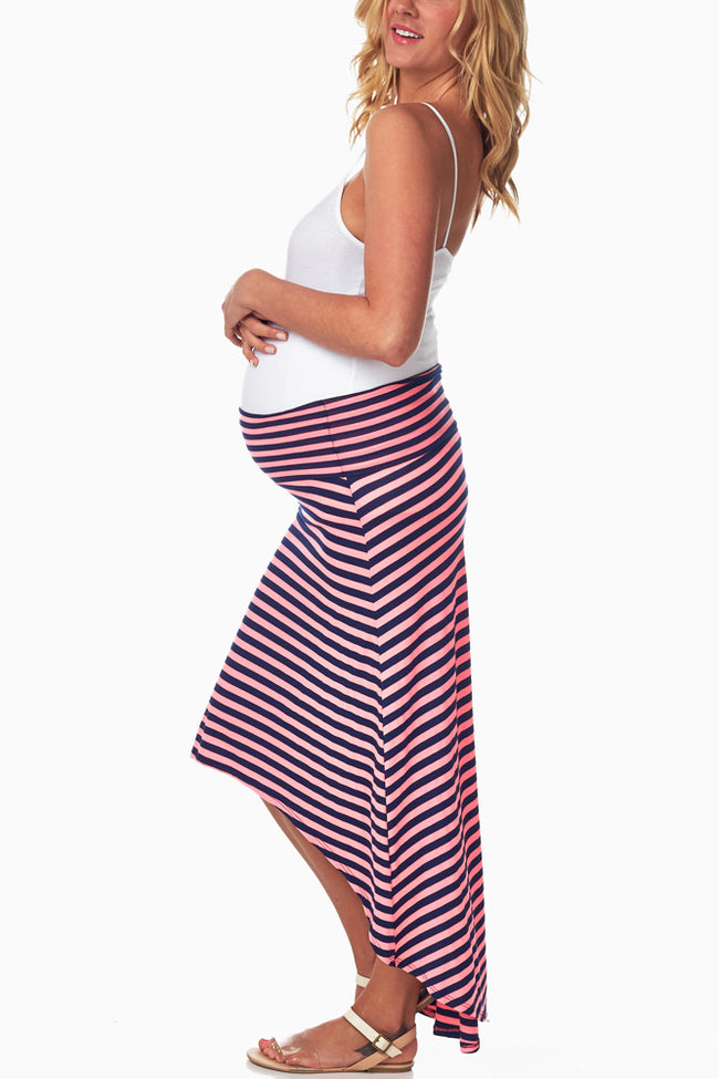 Pink Navy Striped Hi-Low Maternity Skirt