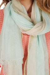 Pink Blue Gold Striped Scarf