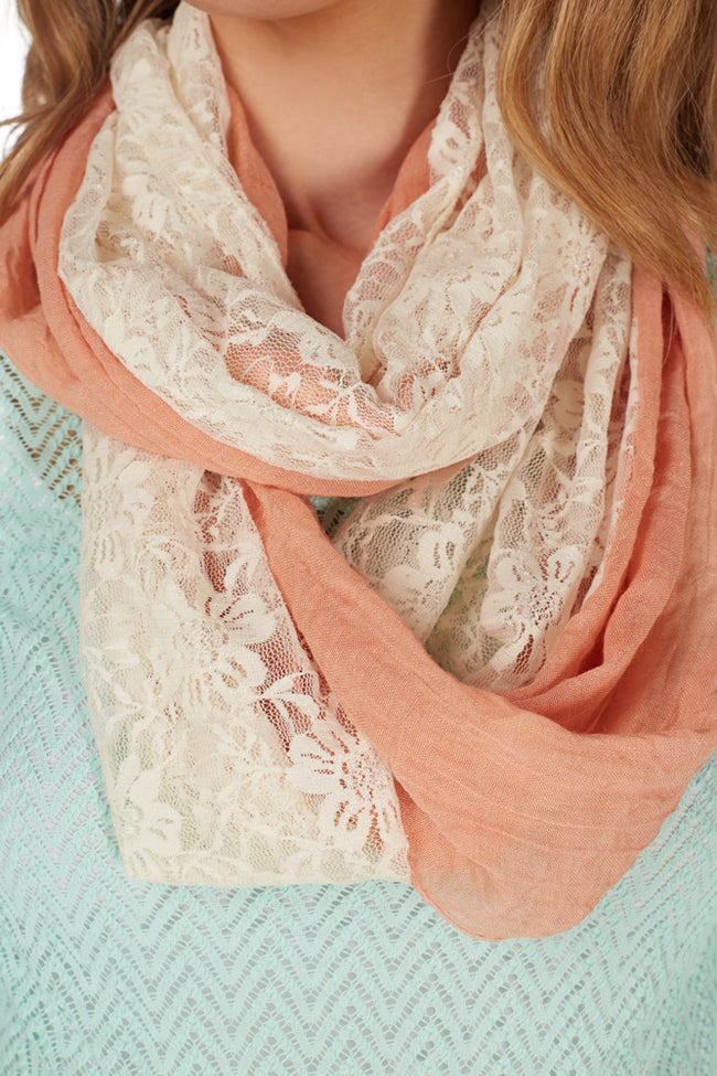Coral Lace Accent Infinity Scarf