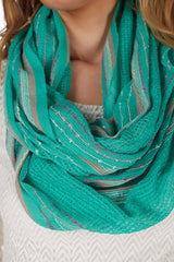 Green Pink Striped Infinity Scarf