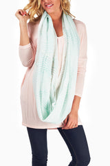 Mint Green Cream Printed Infinity Scarf
