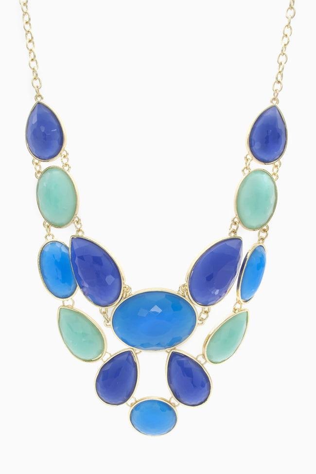 Shades Of Blue Jewel Collar Necklace/ Earring Set