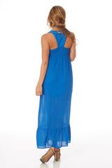 Blue Embroidered Accent Maxi Dress