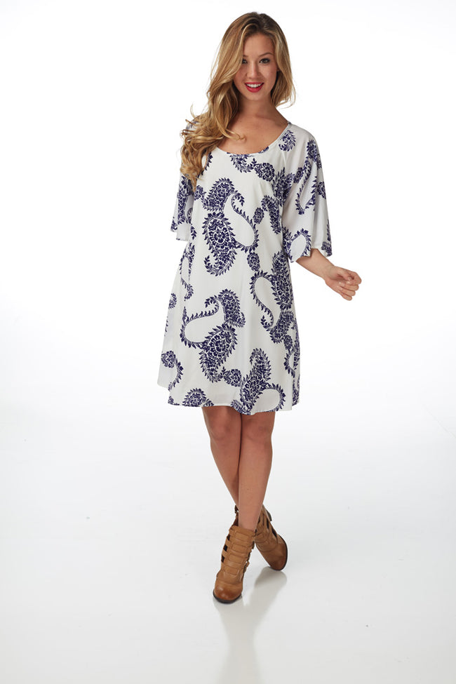 White Navy Printed Dress