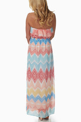 Coral Multi-Colored Chevron Maxi Dress