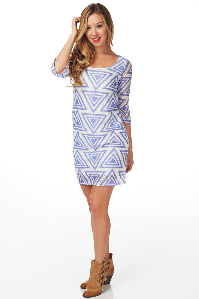 Lavender White Geometric Print Dress