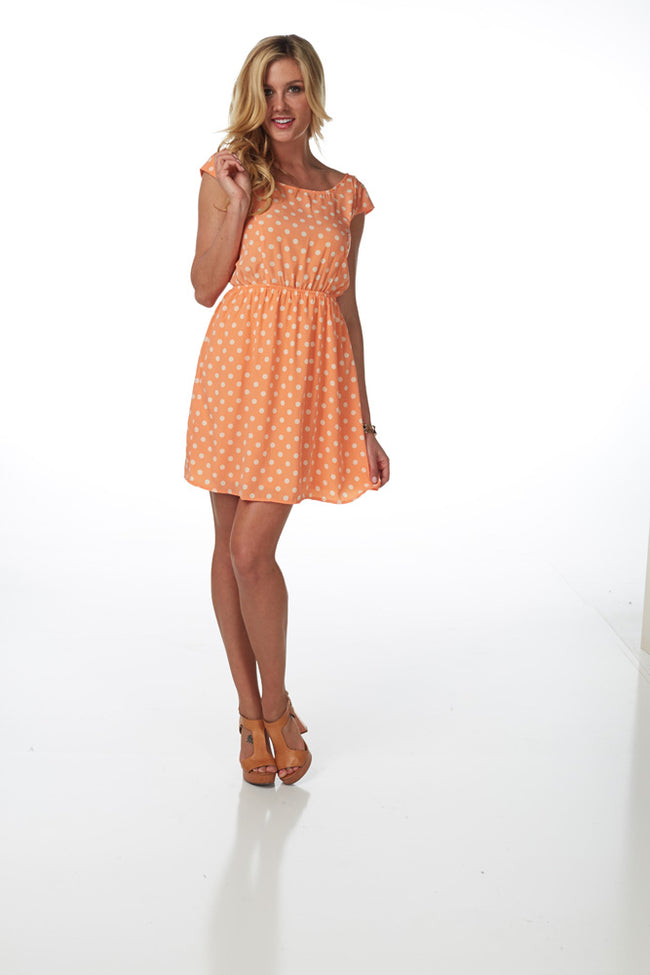 Orange White Polka Dot Dress