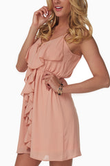 Light Pink Ruffle Zipper Dress