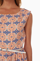 Pale Pink Tribal Print Belted Dress